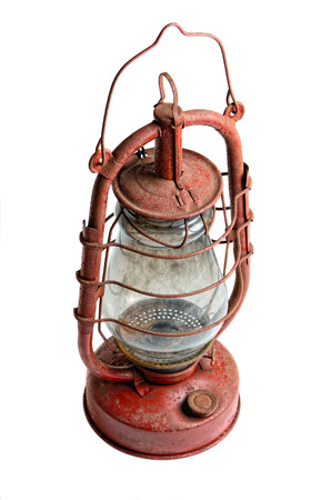 kerosene lamp: old kerosene lamp isolated on white background