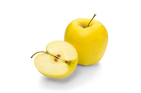 golden: Golden Delicious apple on a white background