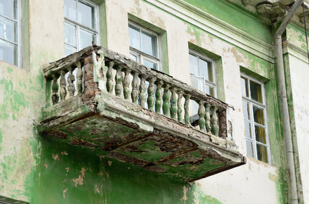 balcony in disrepair in the old building Stock Photo