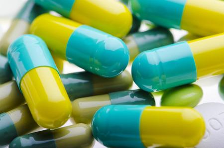 Background of yellow green pills