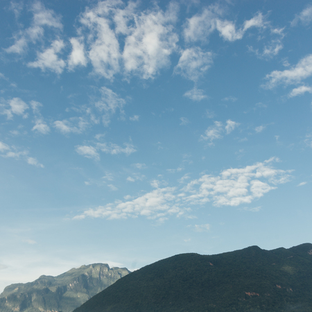 Vintage scene of cloud and mountain ridge in oldie color grading feel like nostagic