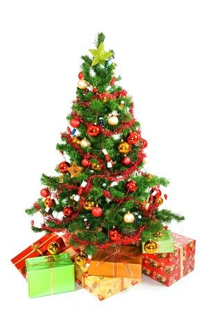 Christmas tree with christmas gifts on white background