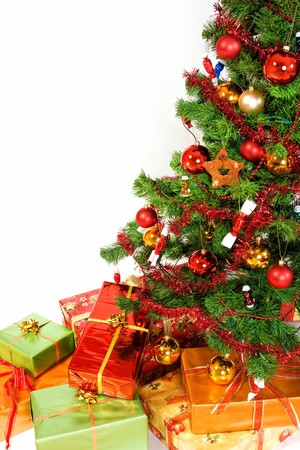 Close-up of Christmas tree with christmas gifts