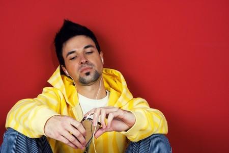 Young man listen music