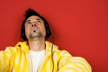 Young men feeling the music Stock Photo