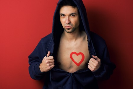 Man chest with heart painted Stock Photo - 4118760