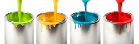 Dripping colorful into cans photo