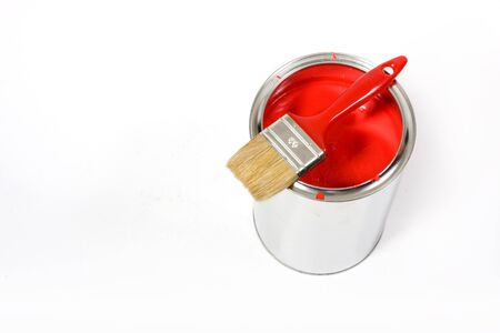 Red paint can with brush isolated on a white background - with path