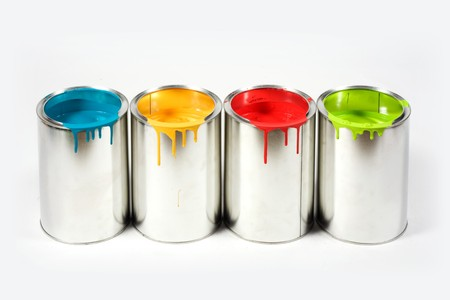 buckets: Opened paint buckets colors
