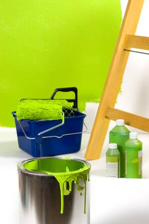 Green painting with ladder, roller brush, bucket and green pigments   Stock Photo - 4143850