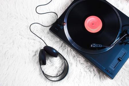 Retro Phonograph on white carpet