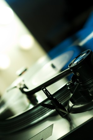Turntable arm over vinyl with backlight