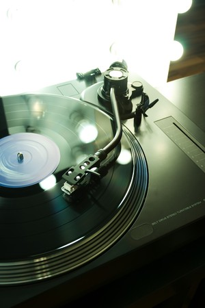 Vinyl player with backlight Stock Photo