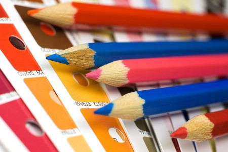 Cmyk color bars with pencils