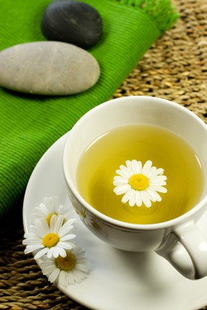 soothing: Teacup with herbal soothing chamomile tea