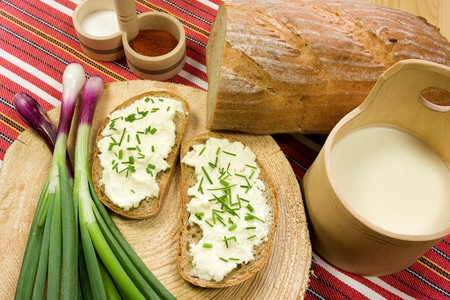 liptov: Healthy breakfast  cotage cheese, red onion and slice of bread Stock Photo