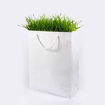 Environment Concept - Green grass in white paper bag