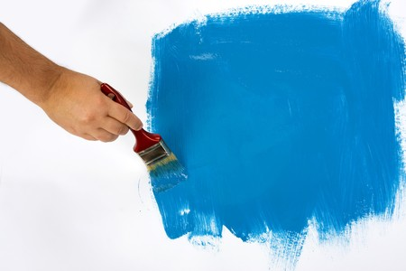 Blue painting with a paint brush