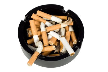 ashtray: Cigarettes butts in ashtray - with path Stock Photo