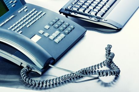isdn: Business concept - keyboard,  telephone - high key