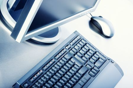 Business concept - keyboard, PC monitor, mouse - high key Stock Photo