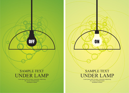 Bulb and lamp on circle background