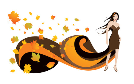 Woman and autumn leaves  Illustration