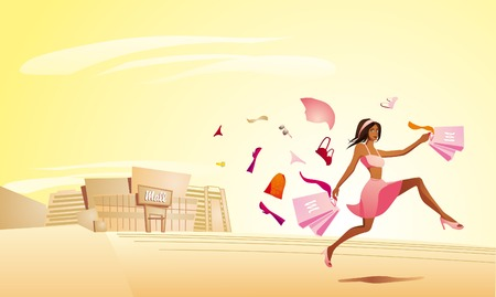 Pretty shopping woman running out of the mall. Full editable  illustration Vector