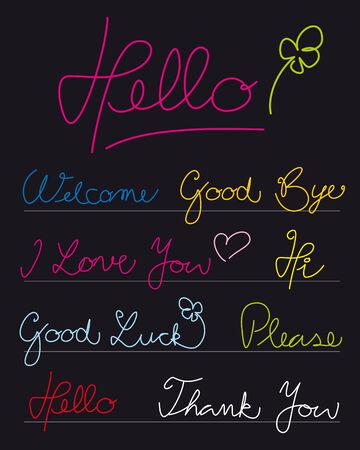 good luck:  Handwritten greetings. Full editable curves.