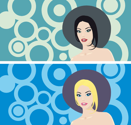Gorgeous women in hat on retro circle background