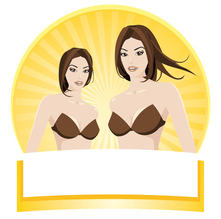 Beautiful women label. Illustration