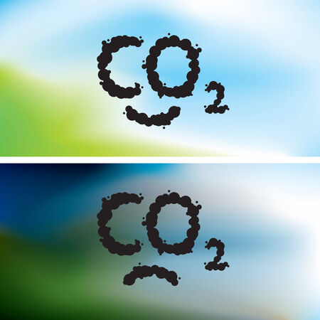 monoxide: O2 written as a black smoke clouds on clear and polluted sky