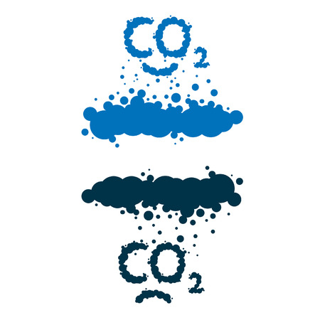 steam mouth:  CO2 written as a black smoke clouds on white background Illustration