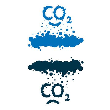 carbon monoxide:  CO2 written as a black smoke clouds on white background Illustration