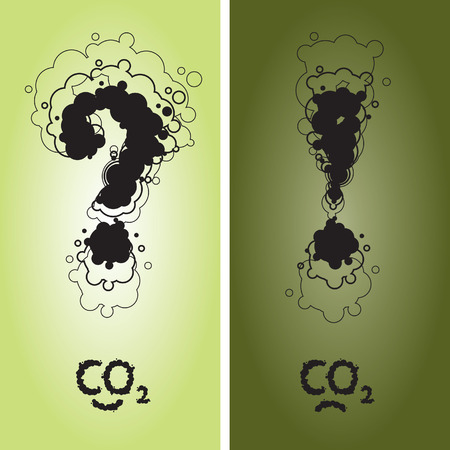 Question and exclamation mark with CO2 sign written as a smoke clouds