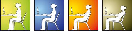 schulter:  Frau sitzen vor einem computer