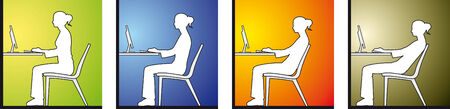woman back pain:  Woman sitting in front of a computer Illustration