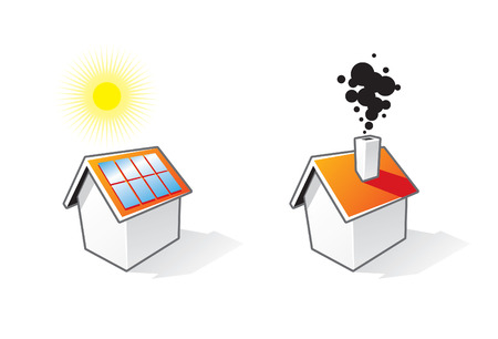 solar house: Two houses icons Illustration
