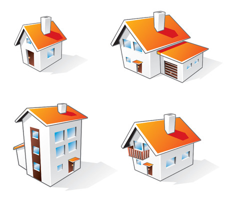 Four different houses icons in cartoon style