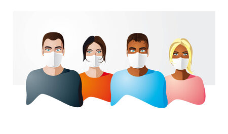 People in protection masks Illustration