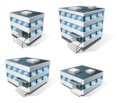 industrial icon: Four office buildings icons in cartoon style Illustration