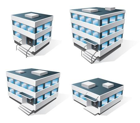 épület: Négy irodaépületet ikonok rajzfilm stílusú Illusztráció