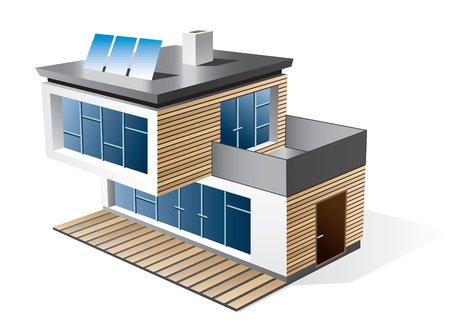 three story: Isolated 3d icon of modern family house with wood facade  Check my portfolio for more building types  Illustration
