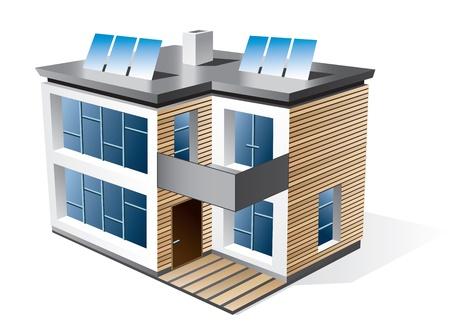 maison solaire: Isol� 3d ic�ne de la maison familiale moderne avec une fa�ade en bois