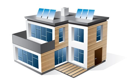 solar house: Isolated 3d icon of modern family house with wood facade  Check my portfolio for more building types  Illustration