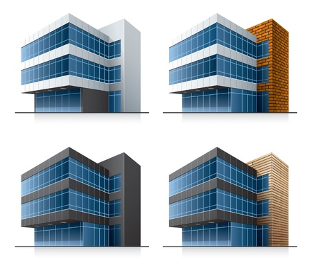 office building exterior: Four office buildings.  Illustration