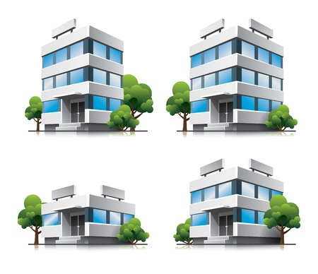 office building exterior: Four cartoon office vector buildings with trees
