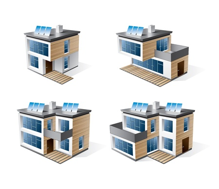 solar roof: Isolated 3d vector icons of modern family houses with wood facade together