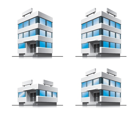 Four cartoon office buildings