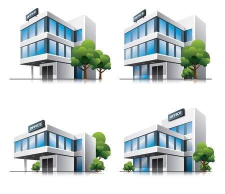 Vier cartoon kantoorgebouwen met bomen